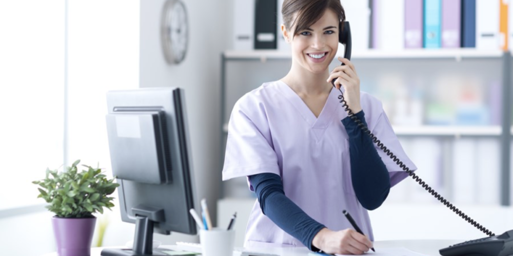 Dental assistant with phone